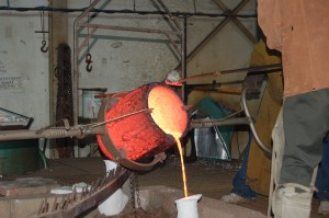 Pouring bronze at Vanguard Art Foundry
