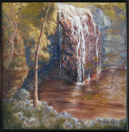 Oil painting of Stevens Falls at Governor Dodge State Park, Wisconsin